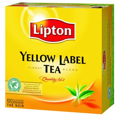 The noir finest blend, Yellow Label tea la boite de 100 sachets de 200g