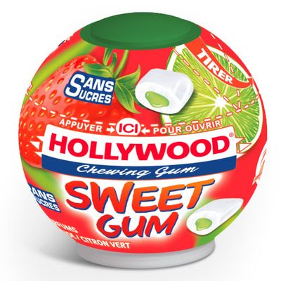 Chewing-gum sans sucre fraise citron-vert Sweet Gum HOLLYWOOD, 40 dragees, 88g