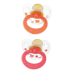 Sucette Nuk physiologique T3 Silicone x2couleur orange-rouge