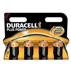 Duracell, Piles alcalines Plus Power LR14, le lot de 4 piles