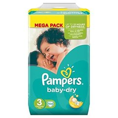 Pampers Couches Baby-dry, taille 3 : 4-9 kg le paquet de 104