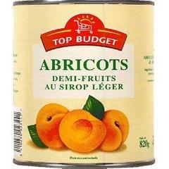 Abricots demi-fruits au sirop leger, la boite, 850ml
