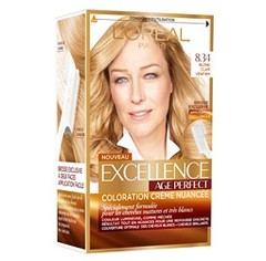 Excellence L'Oréal Paris Excellence Coloration Cheveux Matures & Très Blancs Age Perfect 8,34 Blond Clair Vénitien...