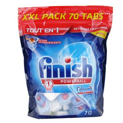 Finish, Powerball - Tablettes tout en 1 action effervescente, le paquet de 70 - 1394 g