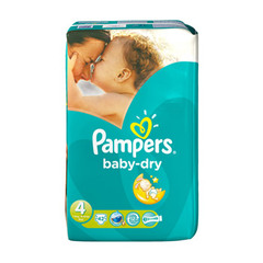 Couches Pampers Baby Dry Géant T4 x42
