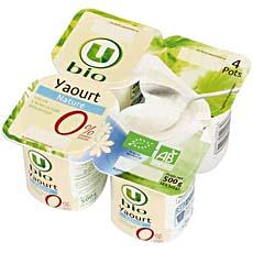 Yaourt nature 0%MG U BIO, 4x125g