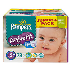 Couches Pampers Active Fit Jumbo box T3 + x78