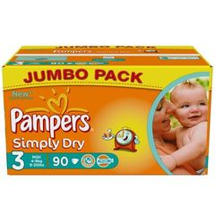 Pampers simply dry jumbo 4/9kg x90 taille 3