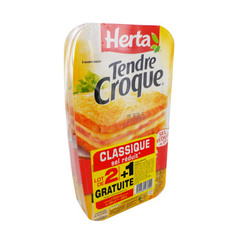 Herta tendre croque classic sel reduit x2 600g