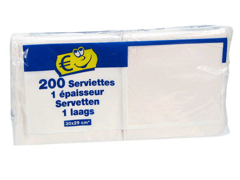 SERVIETTES DE TABLE BLANCHES EN PAPIERS X200