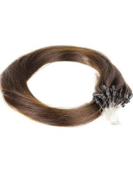 Just Beautiful Hair and Cosmetics Lot de 200 extensions Remy Loop avec micro anneaux pour pose à froid Brun (2...
