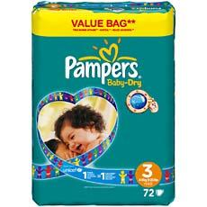 Pampers baby dry drugbag taille 3 4-9kg x72
