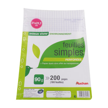 Feuilles simples perforees grand carreaux a4 200 pages for Feuille simple grand carreaux