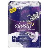 Always discreet serviettes incontinence maxi night X12