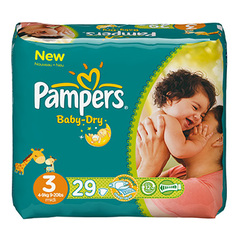 Pampers, Couches baby-dry, taille 3 : 4-9 kg, le paquet de 29