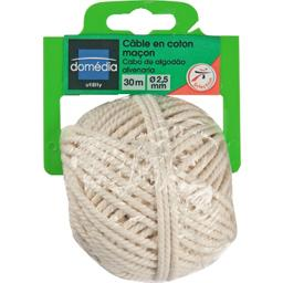 Domedia Utility, Cable en coton macon 30m, diametre 2,5mm, le cable