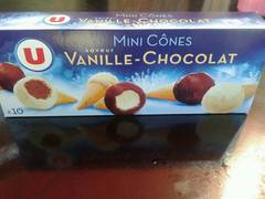 Mini cones glaces vanille chocolat U, 10x25ml