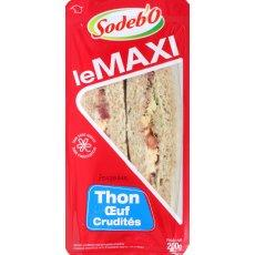 Sandwich maxi pain complet, thon, oeuf et crudites SODEBO, 200g