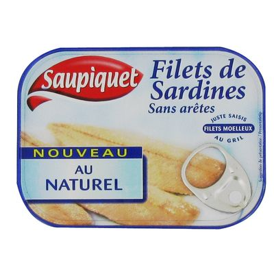 Filets de sardines au naturel SAUPIQUET, 100g