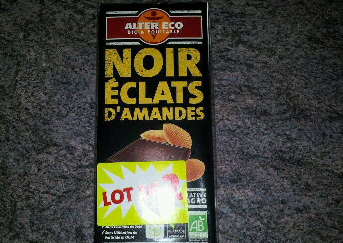 Tablette chocolat Alter Eco Bio, noir amandes 2x100g