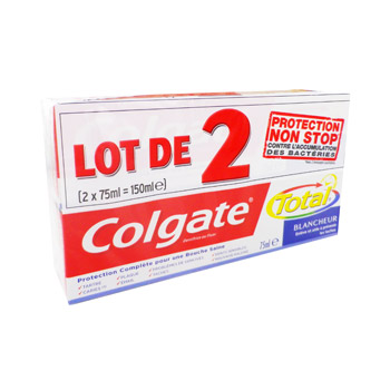 Colgate dentifrice total + blancheur 2x75ml