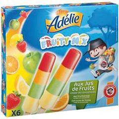 Adelie, Fruity Mix, assortiment sorbets citron, pomme, orange et fraise, les 6 batonnets de 45ml