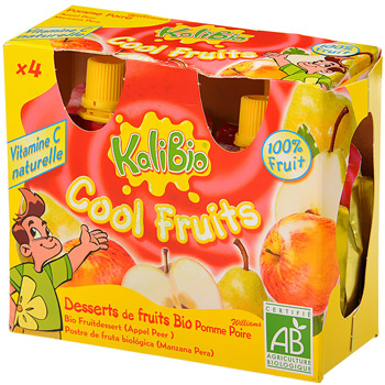 Kalibio Cool Fruits pomme poire bio 4x90g