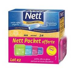 Nett tampons sans applicateur pro confort normal 2x24