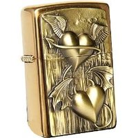 2.003.996 Briquet zippo heart of heaven and hell-laiton brossé
