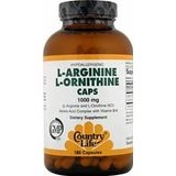 Country Life - L-Arginine L-Ornithine Hydrochloride Caps 1000 mg - 180 Capsules