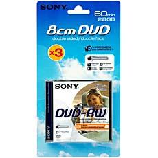 DVD - RW double face pour camescopes 60mn SONY, 3 unites