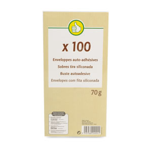 Lot de 100 enveloppes auto adhesives