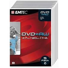 DVD + RW 4x EMTEC, 5 unites en boitier video box