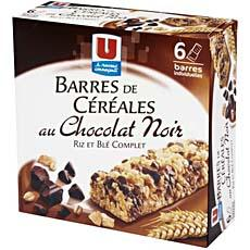 Barres de cereales au chocolat U, 6 pieces, 138g