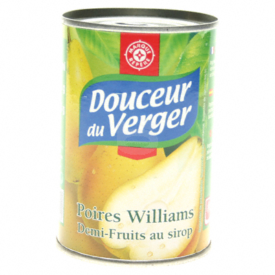 Poires sirop Douceur du Verger William 225g