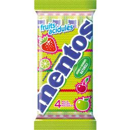 Bonbons drageifies aux fruits acidules MENTOS, 4 rouleaux, 150g