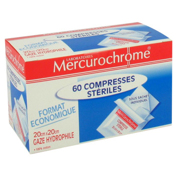 Compresses steriles mercurochrome