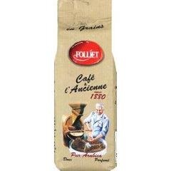 café en grains à l'ancienne pur arabica FOLLIET, paquet de 250g