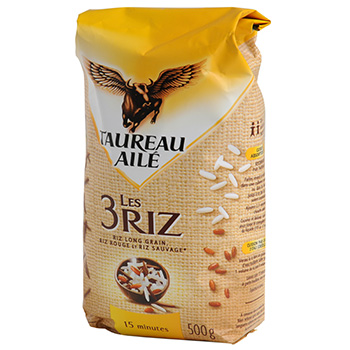 Selection de 3 riz (riz long grain, riz rouge, riz sauvage)