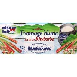 Alsace lait fromage blanc bibileskaes rhubarbe 4x125g 6.2%mg