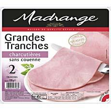 Jambon decouenne grandes tranches charcutieres MADRANGES, 2 tranches, 200g