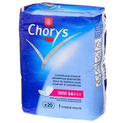 Serviettes incontinence Chorys Taille mini x20