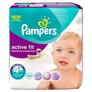 Pampers, Couches active fit, taille 4 + : 9-20 kg, le paquet de 38