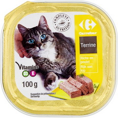 Aliment complet pour chat, terrine riche en poulet