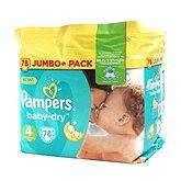 Couches baby dry jumbo + taille 4 PAMPERS, 78 unités