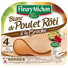 Filet de poulet roti FLEURY MICHON, 4 tranches fines, 120g