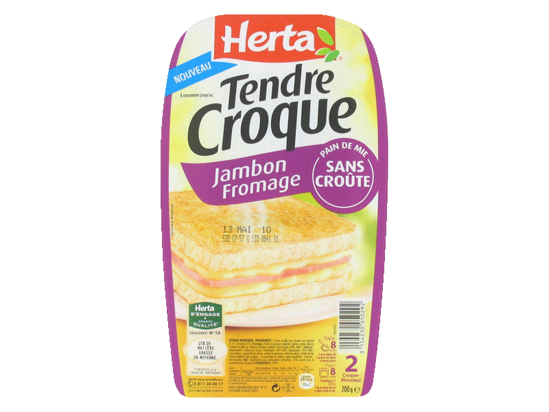 Herta tendre croque moelleux jambon fromage x2-200g