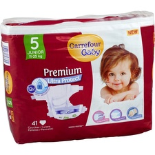 Couches taille 5 11-25 kg Carrefour Baby Premium Ultra Protect