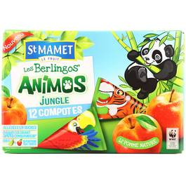 Les Berlingos' Animos jungle aux pommes nature SAINT MAMET, 12x100G