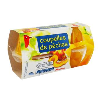 Auchan peches au sirop leger coupelles x4 260g tous les produits confiseries de poche prixing - Peches au sirop sans sterilisation ...